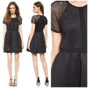 Rachel Zoe LBD Neoprene Baxter Fishnet Sheer Dress